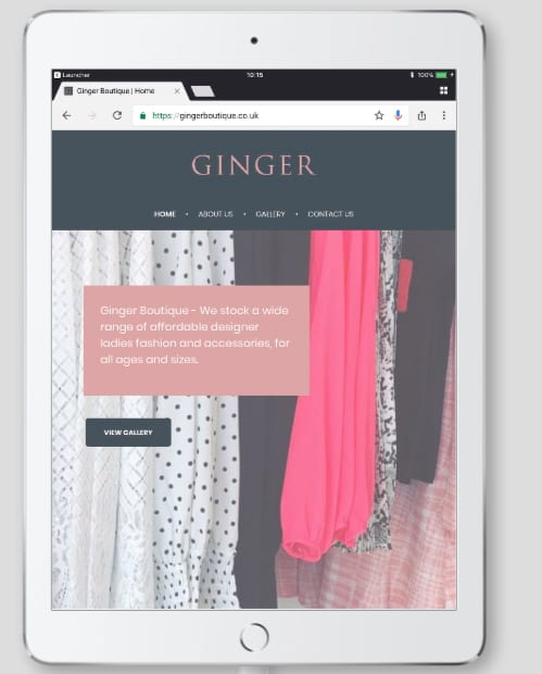 ginger boutique tablet view